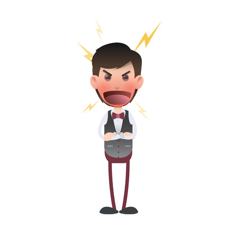 waistcoat: Angry waiter and shouting over white background. Vector design.  Illustration