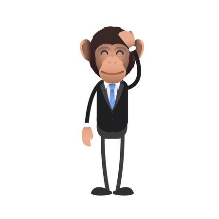 flushed: Flushed business monkey over isolated background. Vector design.  Illustration