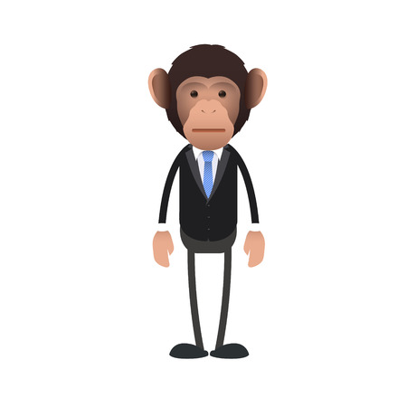 Young business monkey surprised over white background. Vector design.  Vector