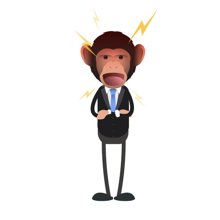 monkey suit: Angry business monkey shouting over white background. Vector design.