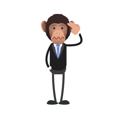 commit: business monkey commit suicide over white background. Vector design  Illustration