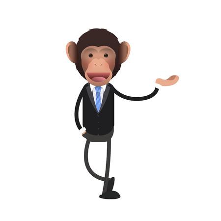 monkey suit: business monkey holding something over isolated background. Vector design.  Illustration