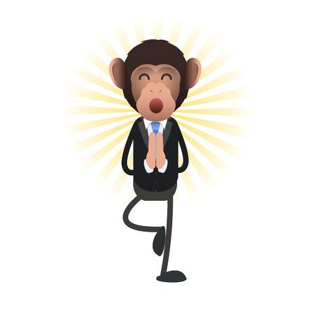Business monkey zen over isolated background. Vector design Stock Vector - 25826652