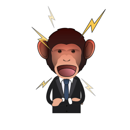 monkey suit: Angry Business monkey and shouting over white background. Vector design.