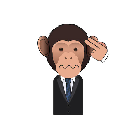 commit: Business monkey commit suicide over white background. Vector design