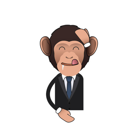 Happy Business monkey over isolated background. Vector design.  Vector