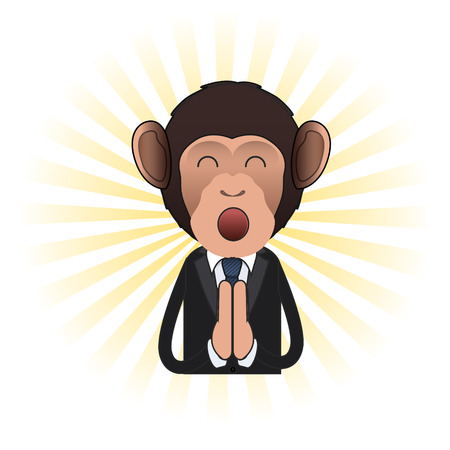 Business monkey zen over isolated background. Vector design  Vector