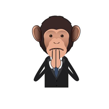 monkey suit: Business monkey pleading over white background. Vector design