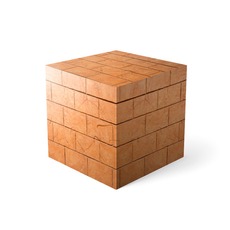 Massive brick texture over white background  photo