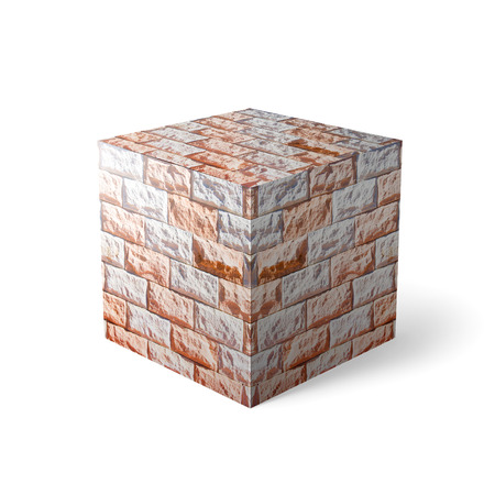 Massive brick element over white background  photo