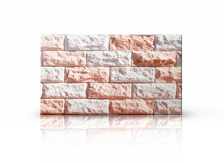 Rectangular placard of bricks over white background.  photo