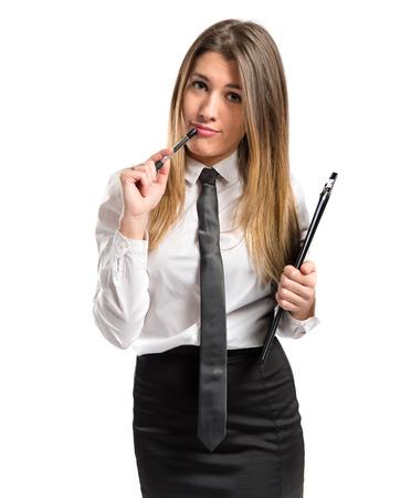 pencil skirt: Cute girl over white background