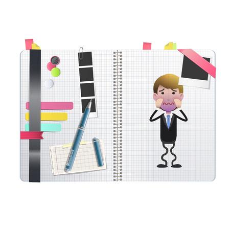 empresario triste: triste Empresario impreso en el cuaderno sobre fondo blanco.