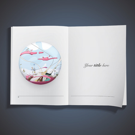 Funny world printed on book. Vector design  Vector