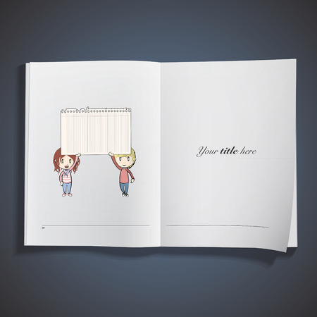 post teen: Kids holding a note printed on book. Vector design  Illustration