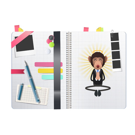Business monkey zen printed on notebook Vector
