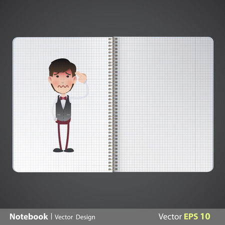 commits: Man commits suicide printed in notebook. Vector design
