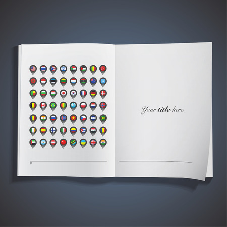 Flags inside pointers printed on book. Vector design  Vector