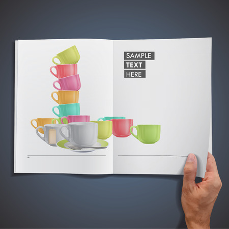 Collection of colorful cups printed on book Vector