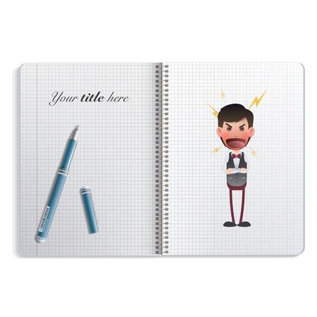 flushed: Angry waiter printed in notebook. Vector design Illustration