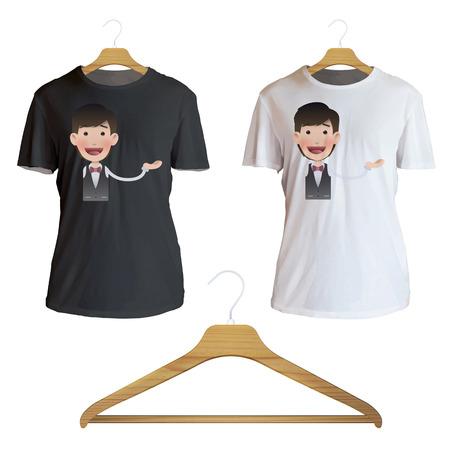 camicia bianca: Uomo che tiene qualcosa stampato sulla camicia bianca. Disegno vettoriale