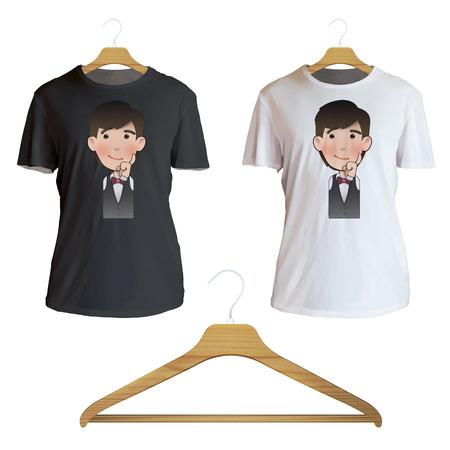 camicia bianca: Cameriere pensare un'idea stampata sulla camicia bianca. Disegno vettoriale Vettoriali