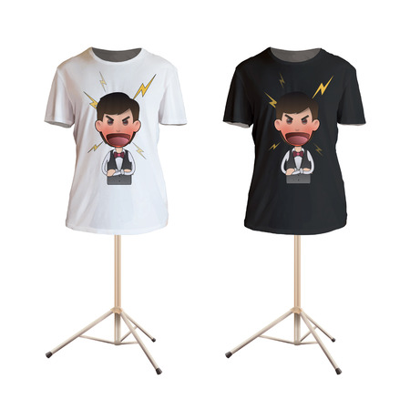 flushed: Angry waiter and shouting printed on white shirt. Vector design