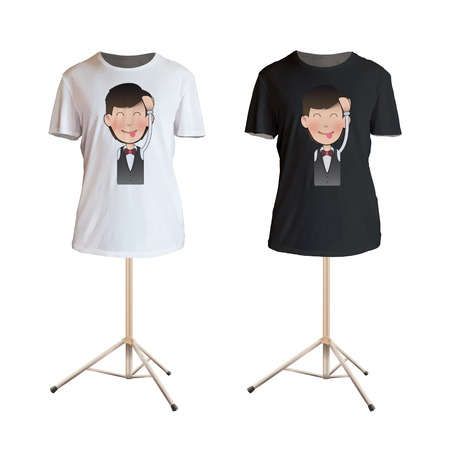 camicia bianca: Cameriere felice stampato su camicia bianca. Vector design