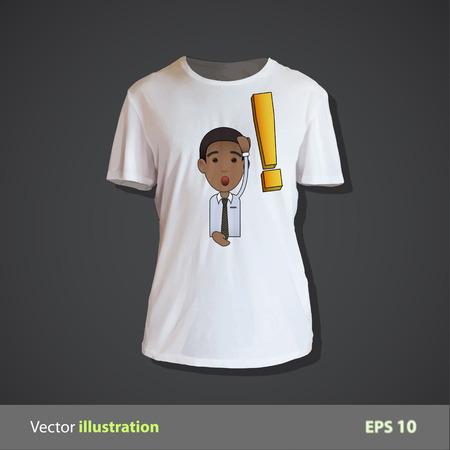 delusion: Surprised businessman printed on shirt. Vector design