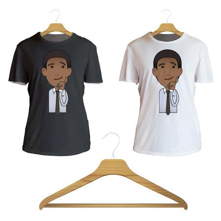 camicia bianca: Imprenditore pensando un'idea stampata sulla camicia bianca. Disegno vettoriale