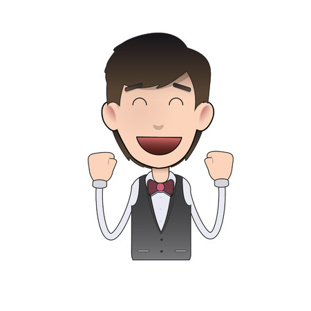 Happy waiter over isolated background. Vector design.  Vector