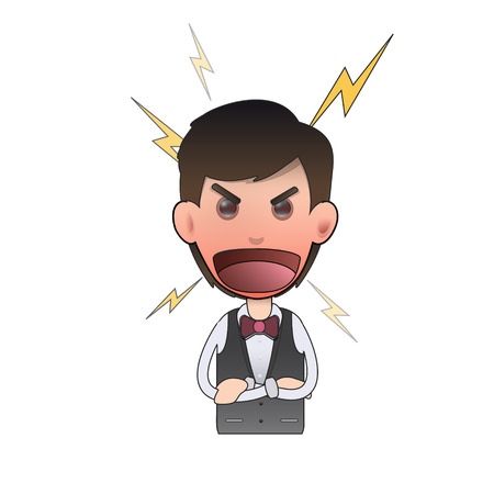 flushed: Angry waiter and shouting over white background. Vector design.  Illustration