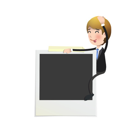 Businessman with photo over white background.  Vector