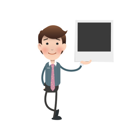 Businessman holding a photo over white background.  Vector