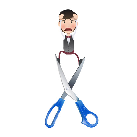 Businessman with scissors over white background.  Vector