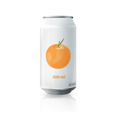 Grey tin of fruit juice.  Vector