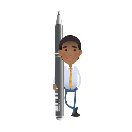 Businessman with pen over white background   Vector