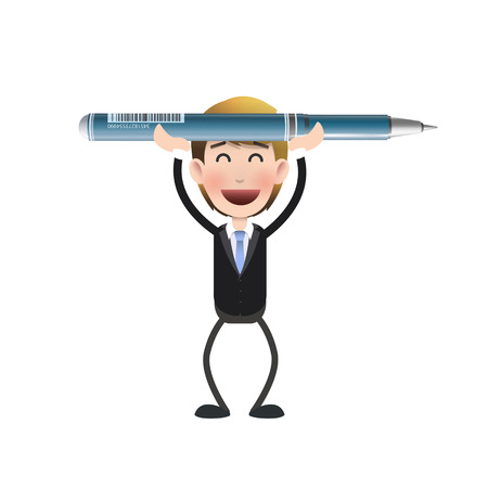 Businessman holding a pen over white background   Vector