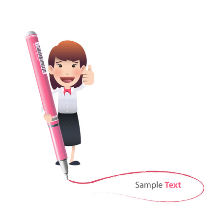 Business girl with pen over white background   Vector