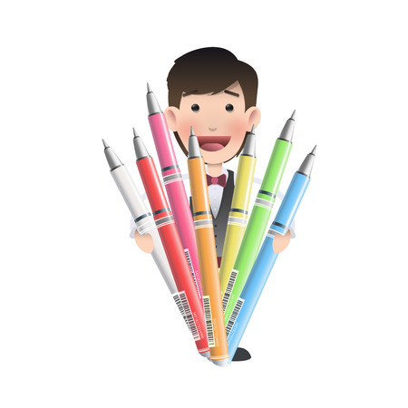 Businessman holding several pens over white background  Vector