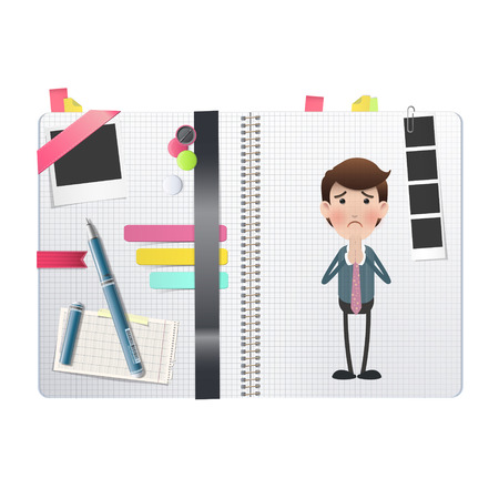 pry: Businessman printed over notebook. Vector design