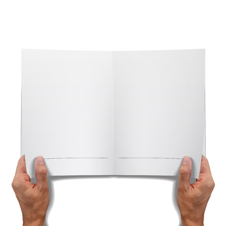 hand holding paper: Empty open book over white background. Vector design.  Illustration