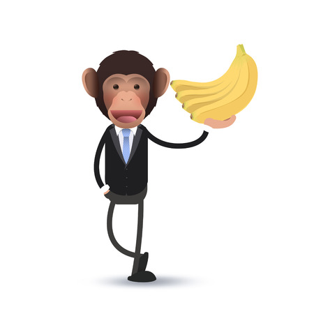 Business monkey with banana over white  Vector
