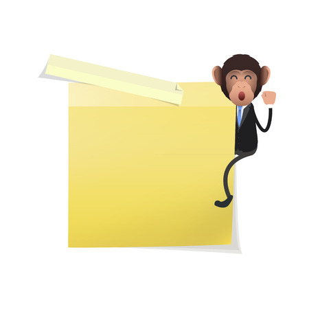 posit: Business monkey with post it over white  Illustration