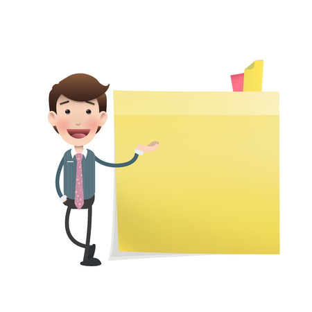 posit: Businessman showing a post it over white  Illustration
