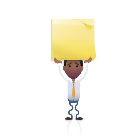 Businessman holding a post it over white  Vector