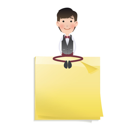 posit: Businessman sitting on post it over white
