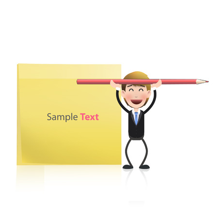 Businessman with red crayon and post it over white  Vector