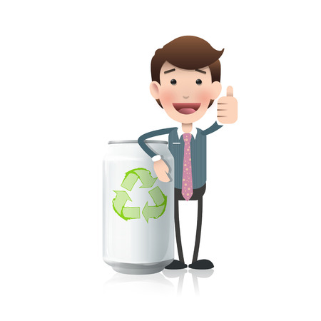 Businessman with eco can over white  Illustration