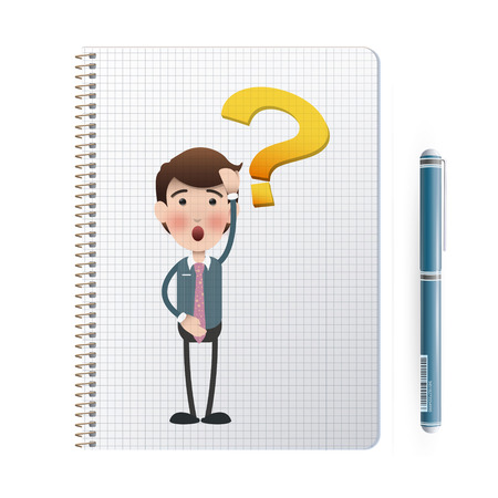 businessman printed on notebook over white  Vector